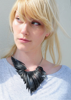 Bird Necklace - Gold White