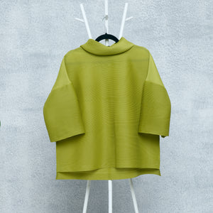 Turtleneck Box Sleeve Top - Peridot Green
