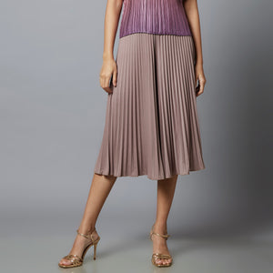 Amelia Wide Pleats Flair Cullotes - Simply Taupe