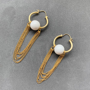 Lana Earrings - White & Gold