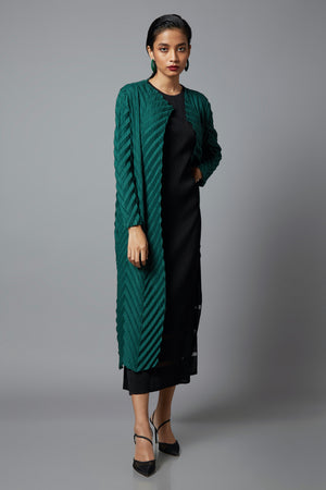 Chevron Pleated Long Overlay - Green