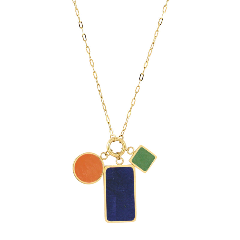 The Coloured Shapes Necklace - Navy Orange
