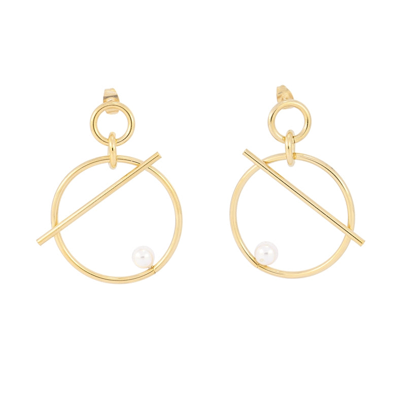 Circle  Art Pearl Earrings II
