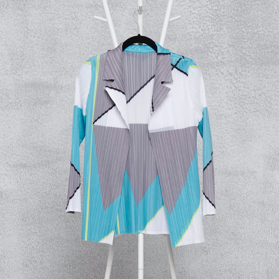 Abstract Print Blazer - Aqua Grey