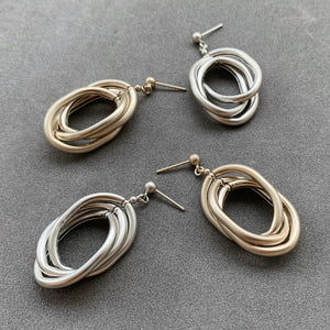 Multiple Suspended Oval Earrings - Silver
