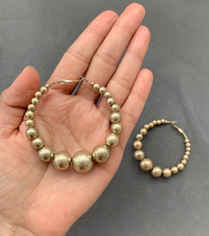 Vintage Beaded Hoops - Gold