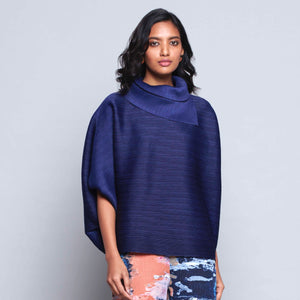 Batwing Turtleneck Top - Navy Blue