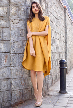 Cape Style, Bias Drape Dress - Yellow