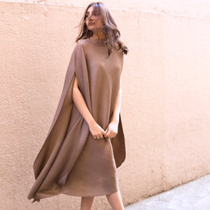 Cape Style, Bias Drape Dress - Taupe