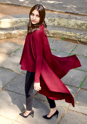 Pleated Waterfall Overlay - Burgundy
