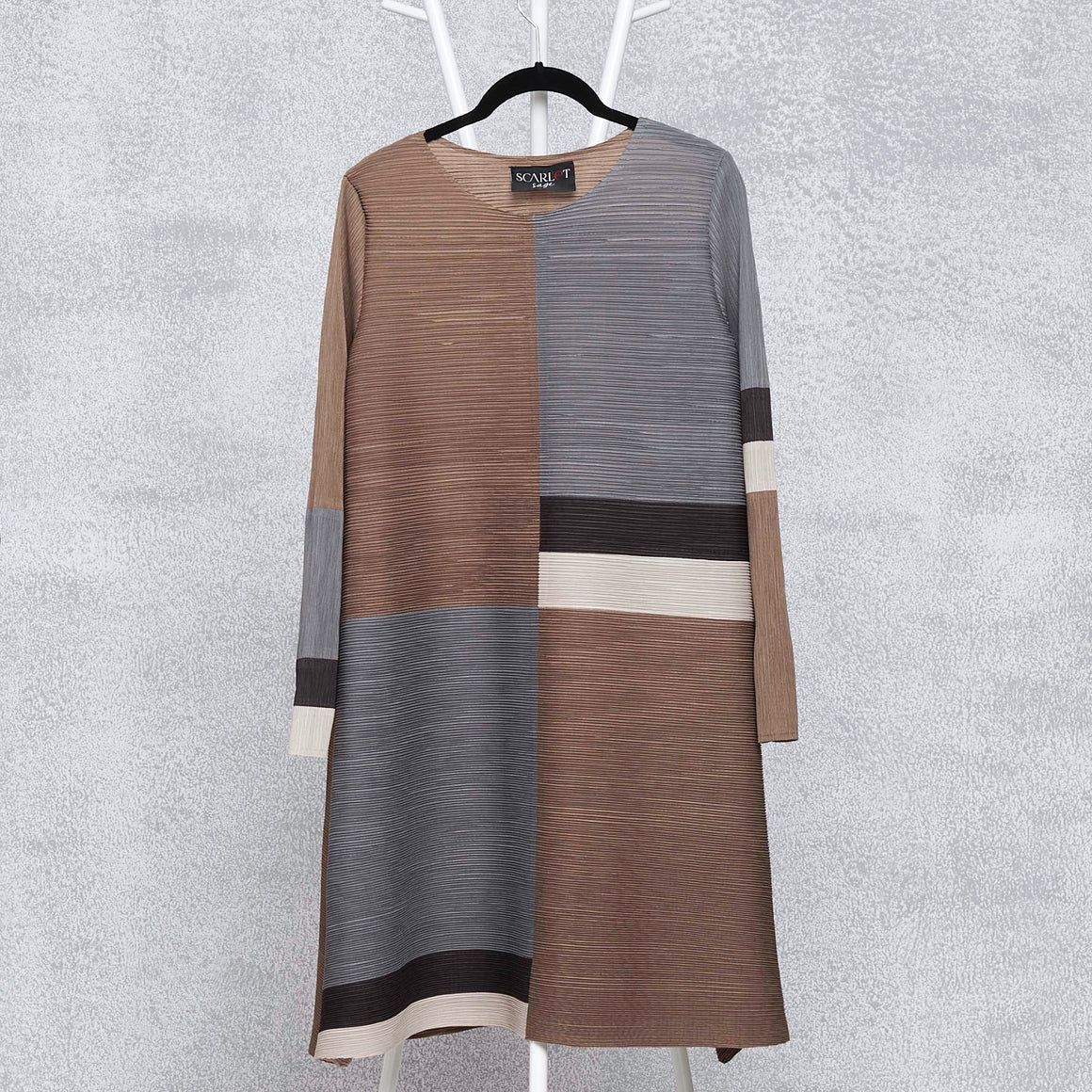Colour-Block A Line Dress - Taupe Grey
