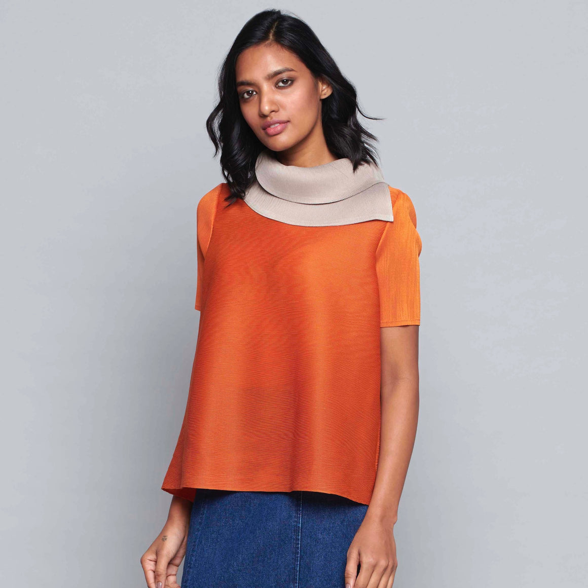 Dual Colour Turtleneck Top - Burnt Orange & Taupe