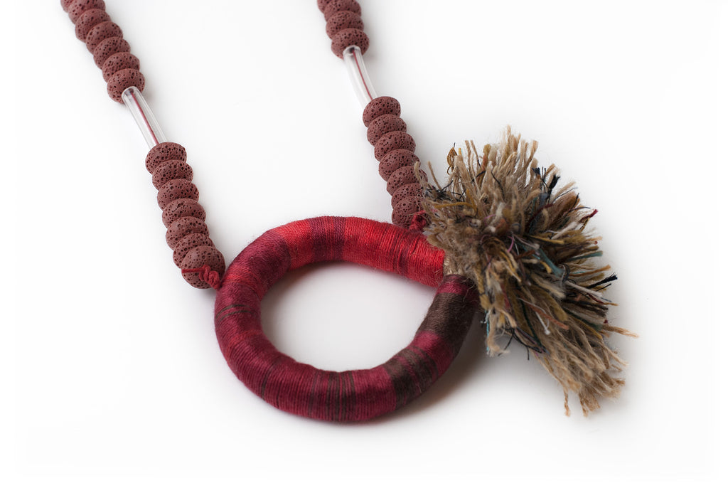 Of Beads & Fringes Necklace - Red