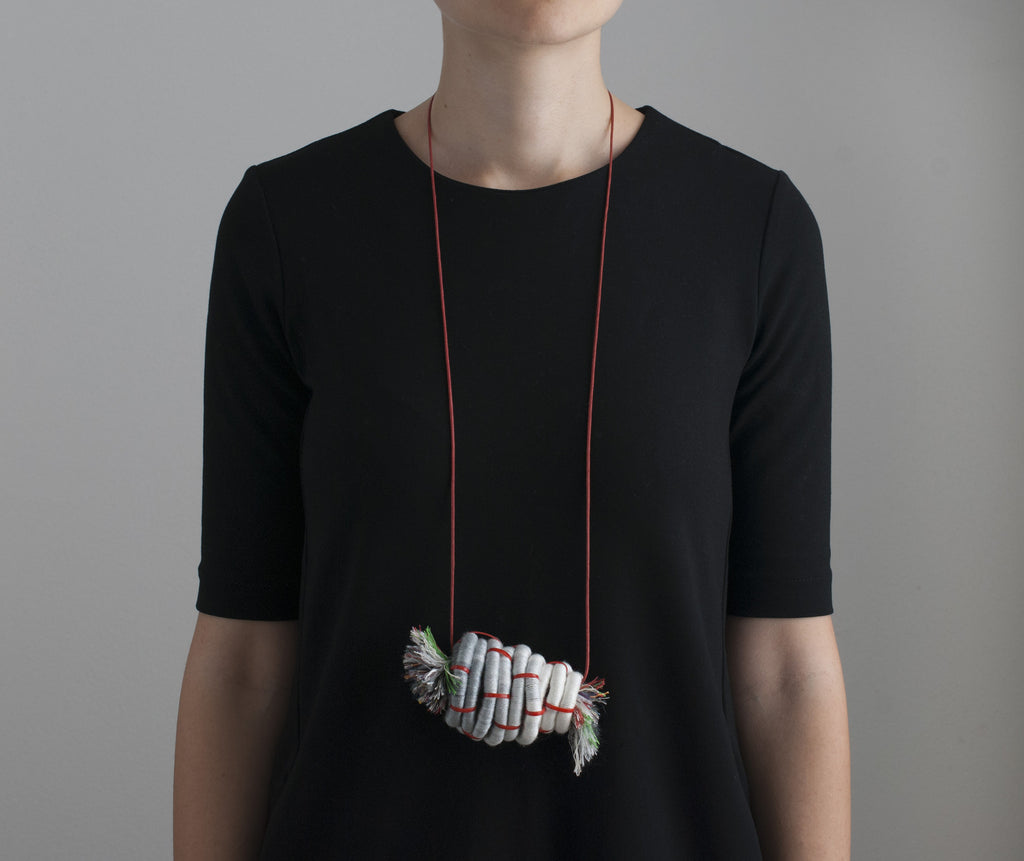The Bundle of Fringe Necklace - Grey & Red