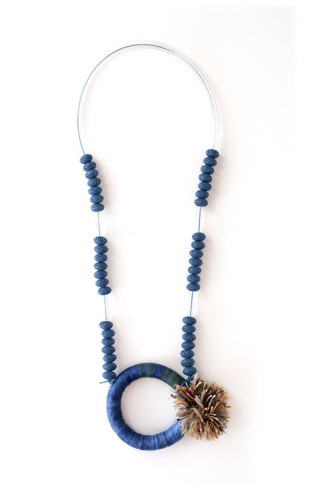 Of Beads & Fringes Necklace - Blue/Green