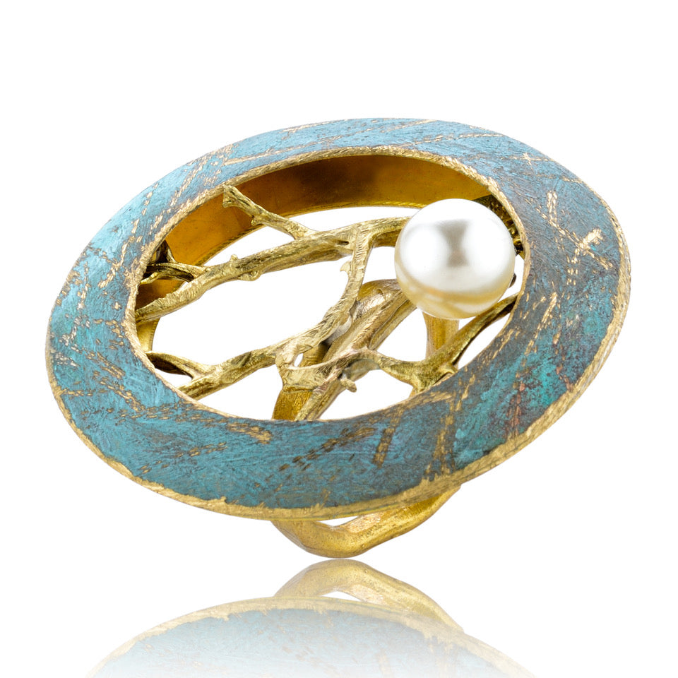 Ivy Pearl Ring - Patina