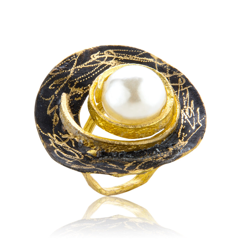 Classic Pearl Ring - Black