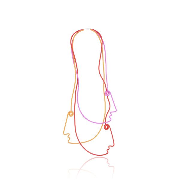 Picasso 3 Faces Necklace - Red Pink Orange