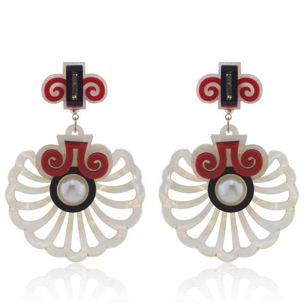 Shell Latice Earrings - Red and Mother of Pearl