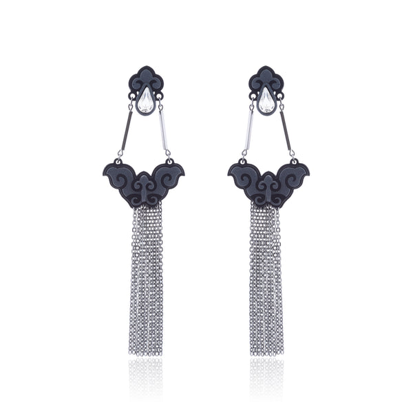 Borboleta Tassel Earrings - Graphite