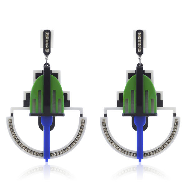 Art Deco Statement Earrings - Blue Green
