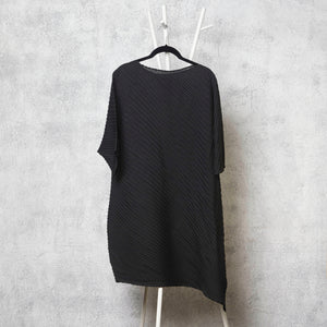 Diagonal Pleat Tunic Dress - Black