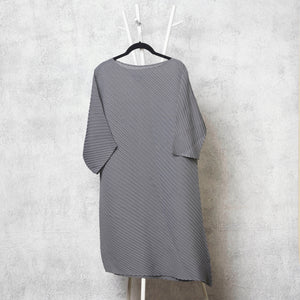 Diagonal Pleat Tunic Dress - Grey