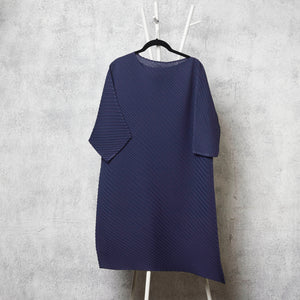 Diagonal Pleat Tunic Dress - Navy