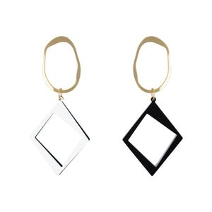 Dual Tone Diamond Drop Earring - Black & White