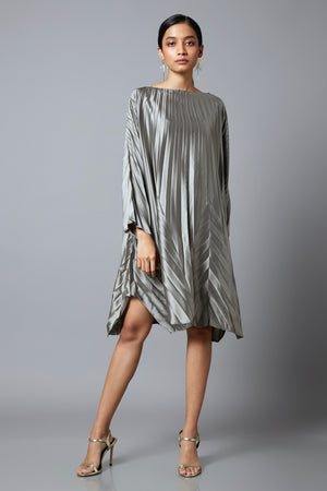 Chevron End Pleats Satin Dress - Silver Grey