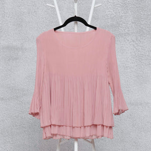 Layered Pleated Sheer Top - Pale Pink