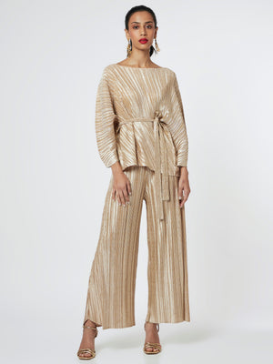 Cora Metallic Co-Ord Set - Champagne Gold