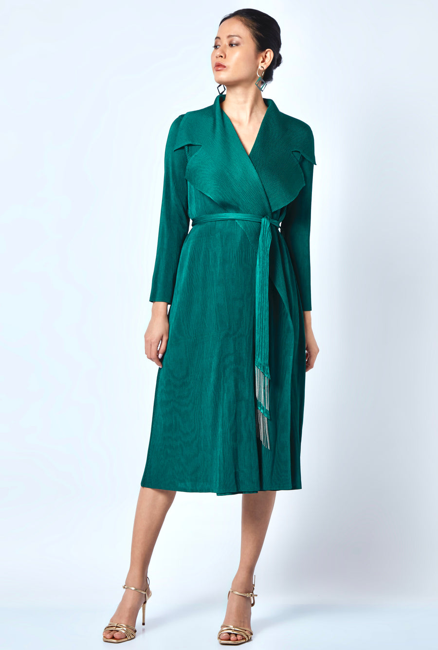 Caroline Wrap Overlay/Dress - Emerald Green