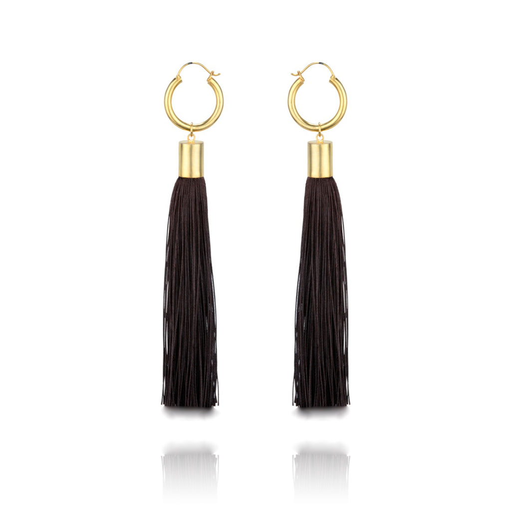 Maleha Tassel Earrings - Espresso Brown