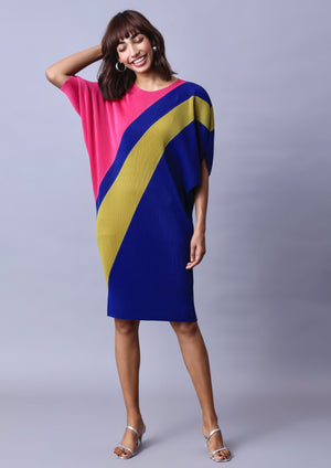 Claire Colour block Dress - Hot Pink