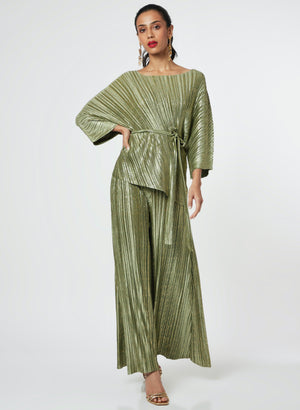 Cora Metallic Co-Ord Set - Capri Green Gold