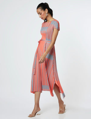Geometric Stripe Dress - Bright Coral Orange & Grey