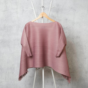 Flared 3/4 th Sleeve Hi Low Fringe Top - Ash Pink