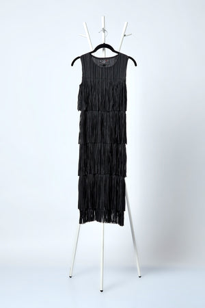 Gisa Fringe Sleeveless Dress - Black