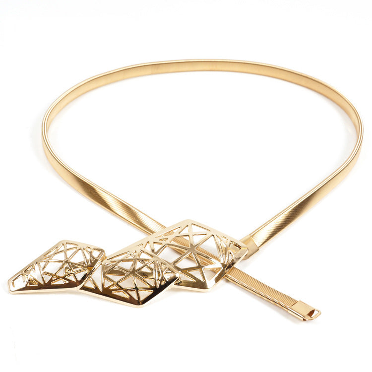 Geometric Clasp Strecth metal belt - Gold