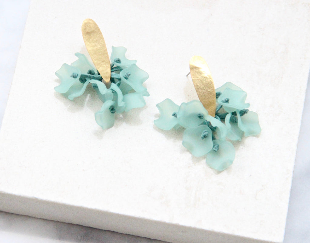The Suspended Corsage Earring - Aqua