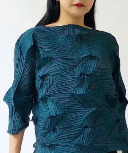 3Dimensional Pleated Top Midnight Blue