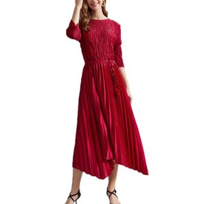 Crushed Pleat Belted Satin Dress - Red