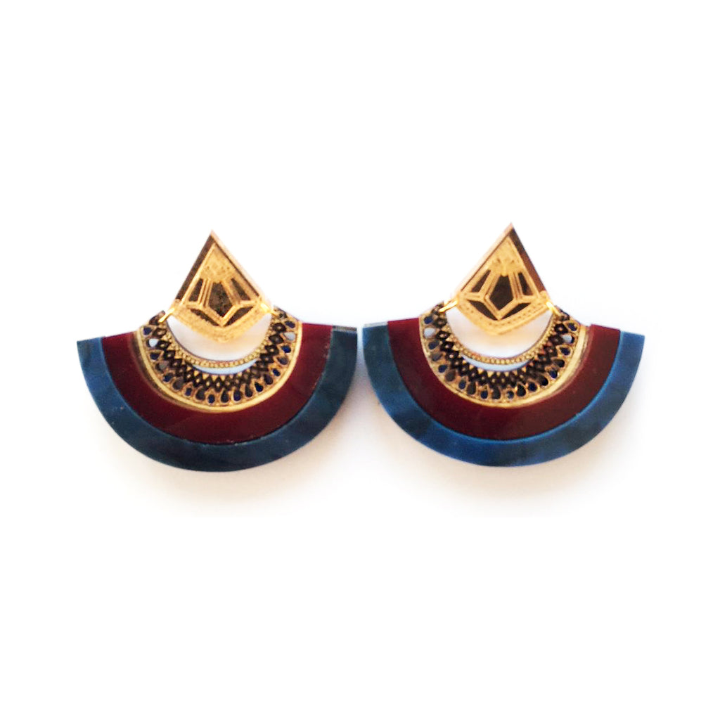 Y Drop Earrings - Maroon