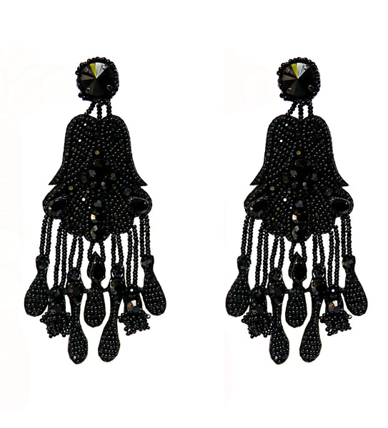 Riana Statement Earrings - Black