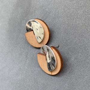 Wood & Metal Small Studs - Silver