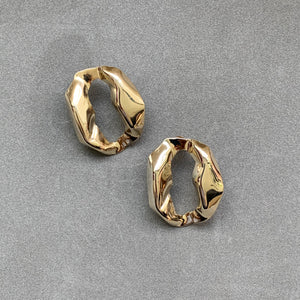 Uneven Circle Stud Earrings - Gold