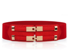 Double Clasp Elastic Belt - Red