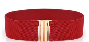 Basic Clasp Elastic Belt - Red