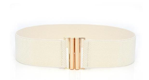 Basic Clasp Elastic Belt - Cream